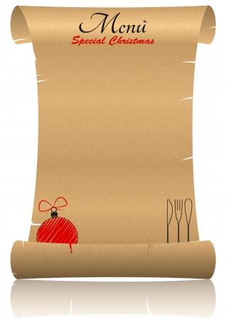 ejemplo de menú de Navidad en el pergamino con la reflexión Ilustración de vector