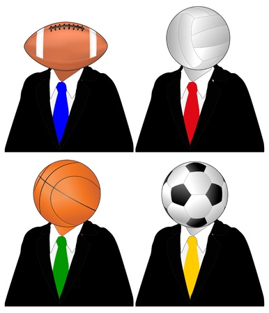 illustration set of man with ball head Vector