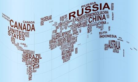 planisphere: illustrazione di mappa del mondo con il nome del paese