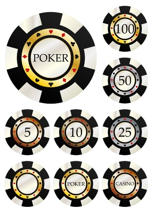 casino chips: illustration set of chips in variant value