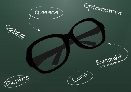 farsighted: illustration of glasses with chalkboard in background Illustration