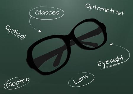 miopia: illustrazione di occhiali con lavagna in background Vettoriali