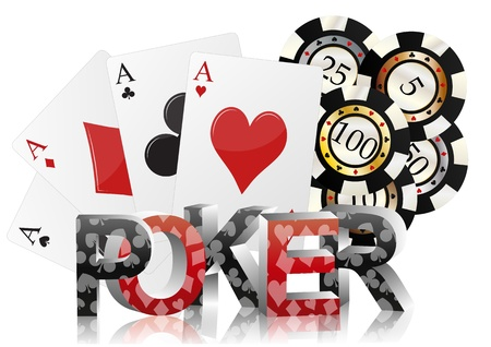 illustration of poker text with ace cards and fiches Stock Vector - 16879985
