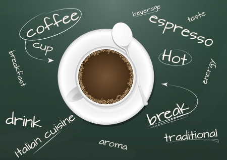 illustration of coffee with text on chalkboard Stock Vector - 16953010