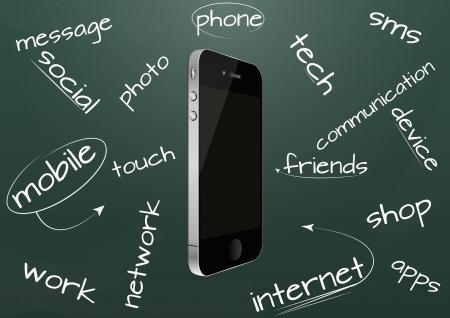 illustration set of cellular phone on chalkboard Stock Vector - 16953008