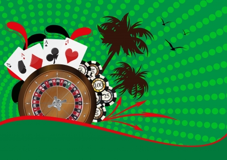 illustration of roulette, playcard and fiches Stock Vector - 16979793