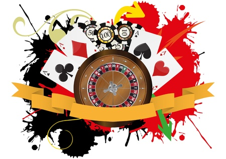 illustration of roulette, play cards and fiches with blank ribbon