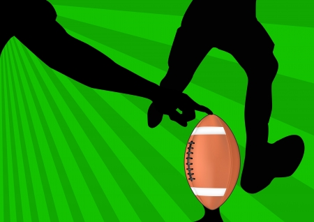 punt: illustration of american football with green background
