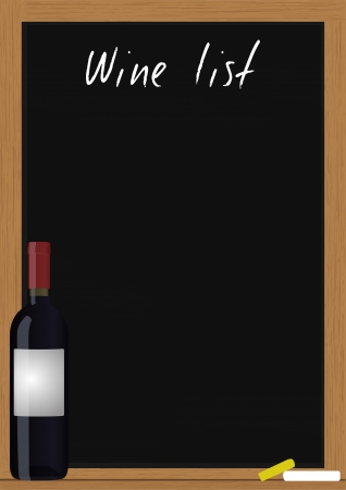 illustration of wine list in chalkboard with wine bottle Stock Vector - 17037734