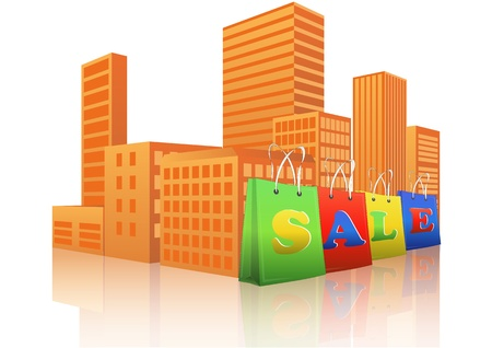 illustration of sale shopper with city in background Vector