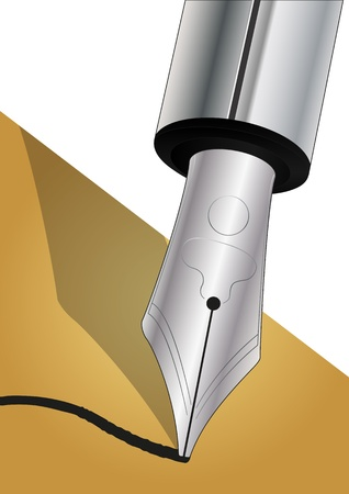 illustration of metal fountain pen nib Vector