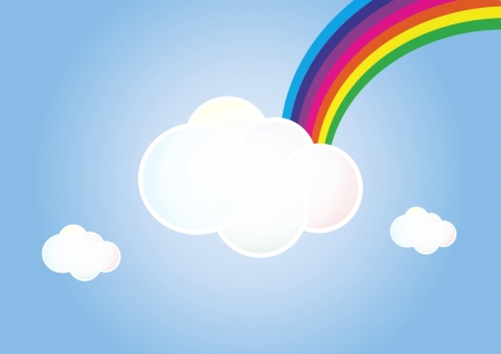 illustration of cloud with colorful rainbow Vector