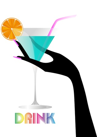 colorful straw: illustration of green cocktail with female hand Illustration