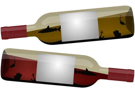 illustration of wine bottle with sea inside, white and red wine Vector