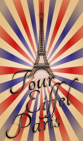 illustration of tour eiffel with text, vintage effect  Vector