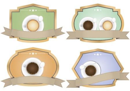 illustration of coffee vintage color badge