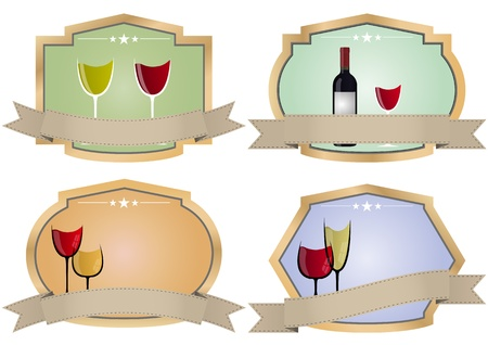 illustration set of vintage wine badge Vector