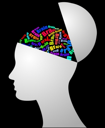 cerebro blanco y negro: ilustración del cerebro de texto con cabeza humana Vectores