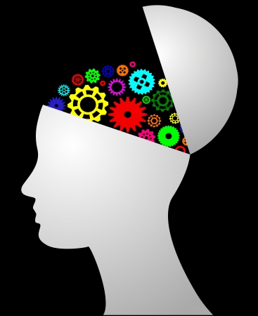 illustratie van het hoofd met kleurrijke versnellingen
