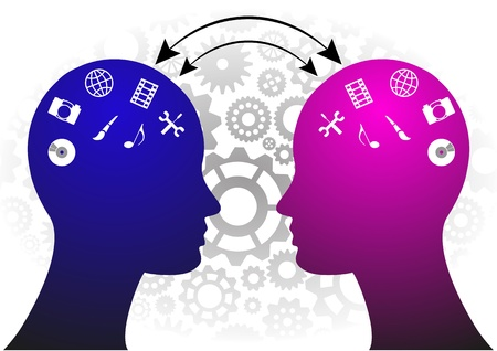 illustration of two heads with media symbol
