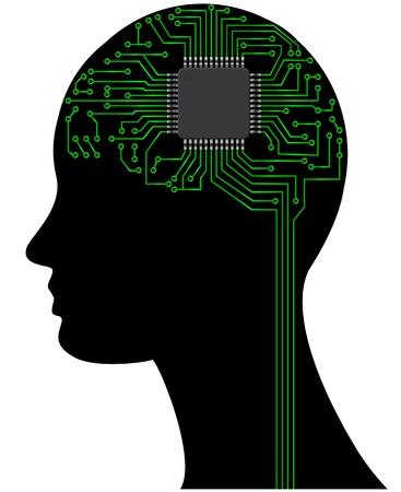 illustratie van het hoofd met microchip en route