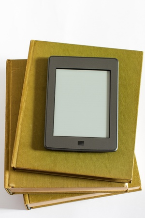 photography of ereader above the books Stock Photo - 17405725