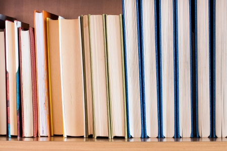 photography of books in wood shelf Stock Photo - 17405727