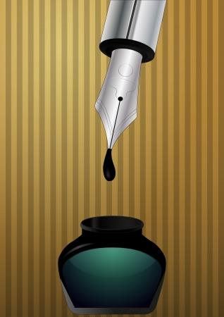 subscribing: illustration of metal fountain pen nib with ink box Illustration