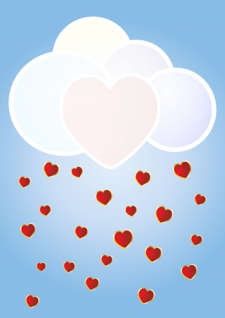 illustration of cloud with rain of romantic hearts Vector