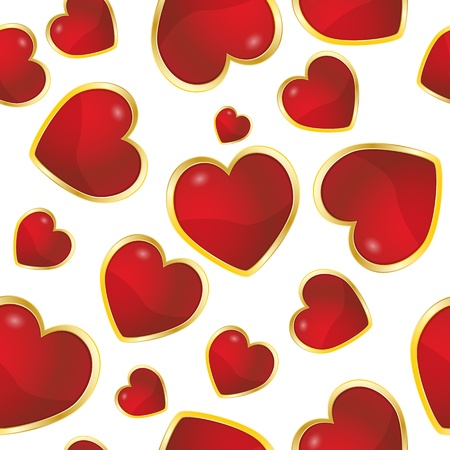 illustration of red hearts, seamless pattern Vector