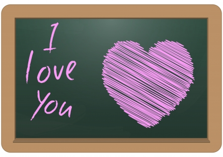 illustration of pink heart and text in chalkboard  Vector