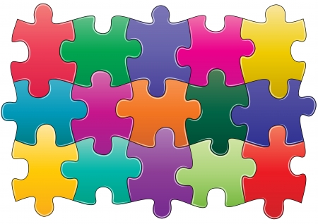illustration of group pieces of colorful puzzle  Vector
