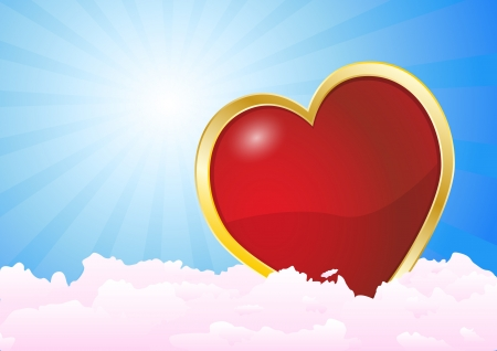 illustration of a heart immersed in the clouds Иллюстрация