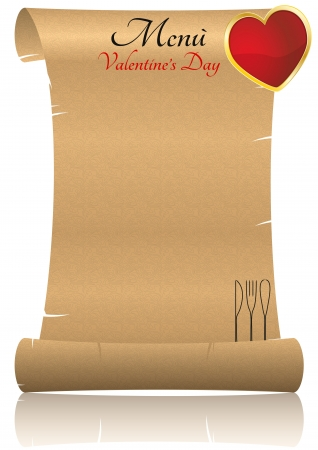 illustration of parchment menu for valentine Vector