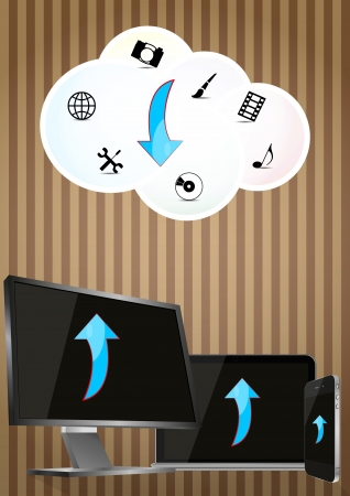 illustration of monitor, cellular and laptop with cloud Stock Vector - 17722656