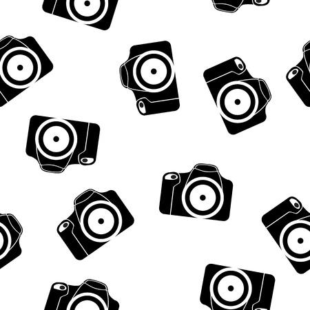 reflex camera: illustration of reflex camera seamless pattern