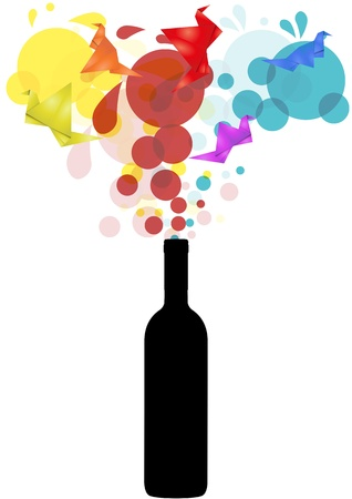uncork: illustration of silhouette bottle with abstract colors