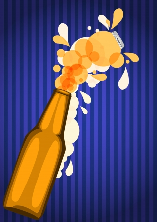 illustration of beer bottle with stripes blue background Stock Vector - 17843135