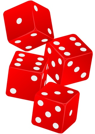 dices: illustration of four red dice