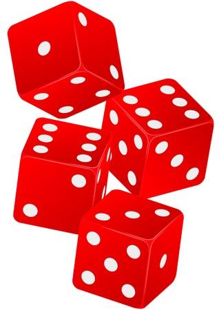 kostky: ilustrace čtyři červené kostky