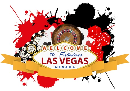 illustration of las vegas with yellow ribbon Vettoriali