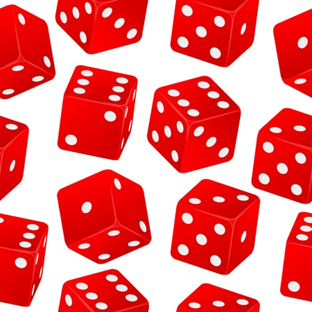 illustration of red dice seamless pattern Vector