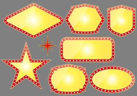 illustration set of yellow banner for casino
