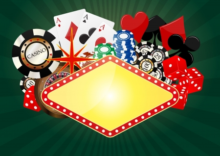 cartas de poker: ilustraci�n de la bandera en blanco casino con objeto Vectores