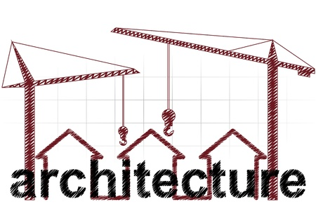 illustration of architecture text with three houses and cranes Stock Vector - 17982246
