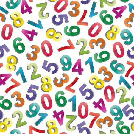illustrator of colorful numbers seamless pattern  Vector