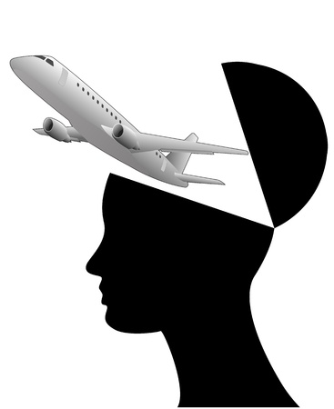 illustration of black open head with airliner Stock Vector - 18060052