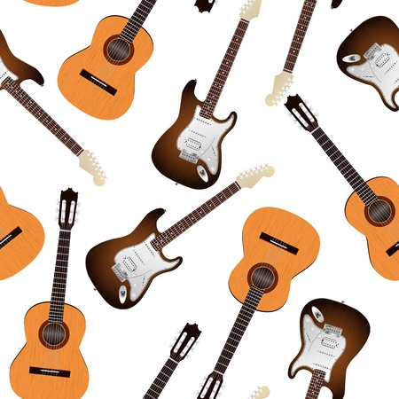 illustration of classic and electric guitar seamless pattern Vector