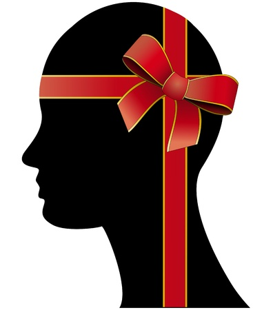 illustration of head with ribbon silk Stock Vector - 18060053