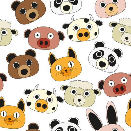 illustration of characteristic animal face, seamless pattern Vector
